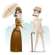 Victorian Lady and Gentleman Wealthy Cartoon