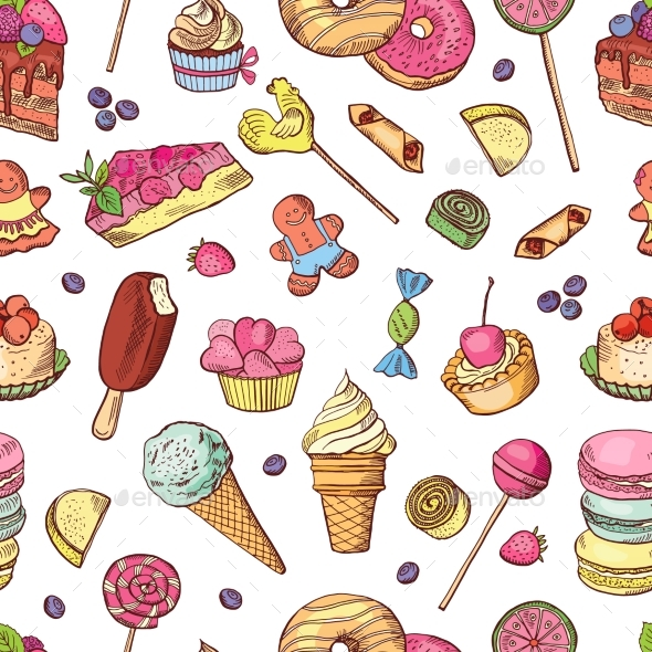 Vector Seamless Pattern of Candies, Ice Cream