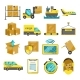Cargo Vector Icon Set Isolated. Airplane, Harbor