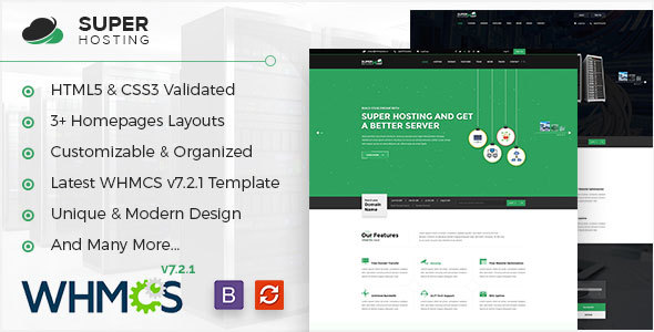 Super Host - WHMCS & HTML Template For Web Hosting & Technologies Company