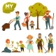 People Working in Garden Colorful Vector Poster
