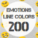Emotions color line icons