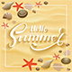 Lettering Hello Summer on Sandy Background with Starfish and Seashells