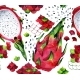 Seamless Watercolor Pattern with Dragon Fruits and
