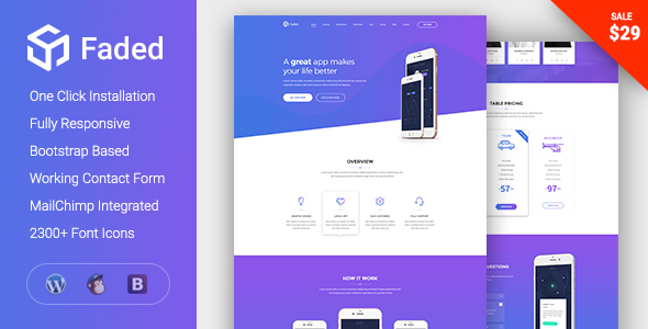 Фото Шаблон Wordpress  Faded - Responsive App Landing Page WordPress Theme — Preview.  large preview