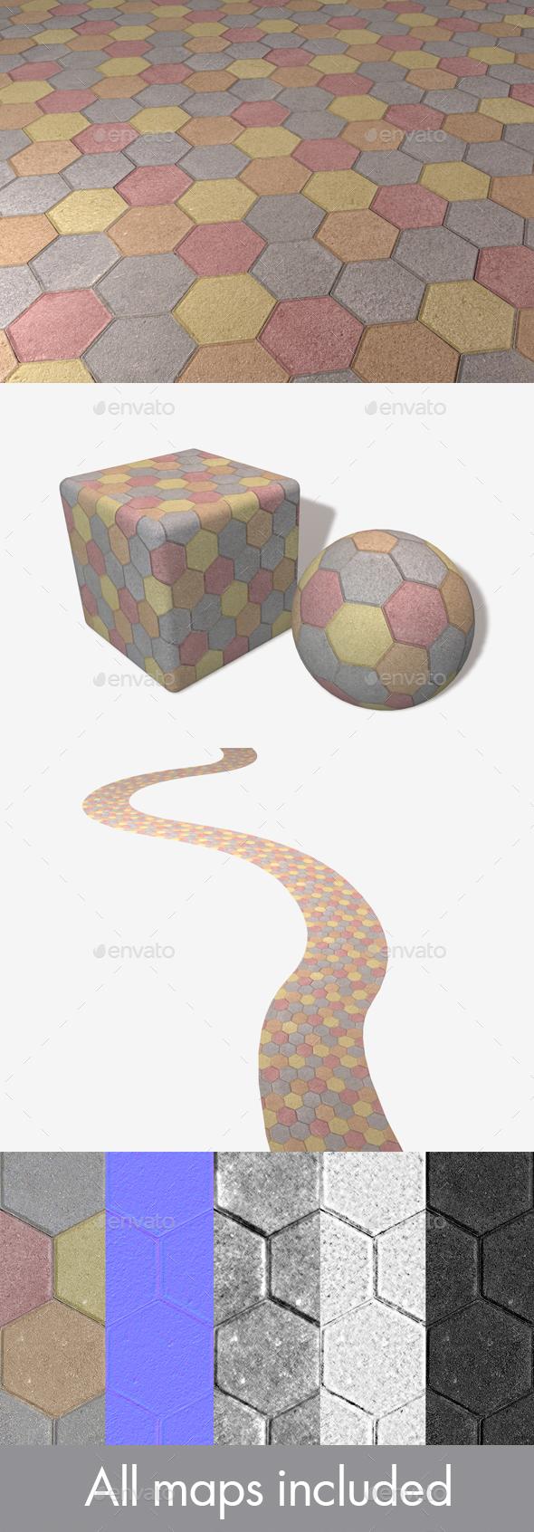 3DOcean Colourful Hexagon Paving Slabs Texture 20007679