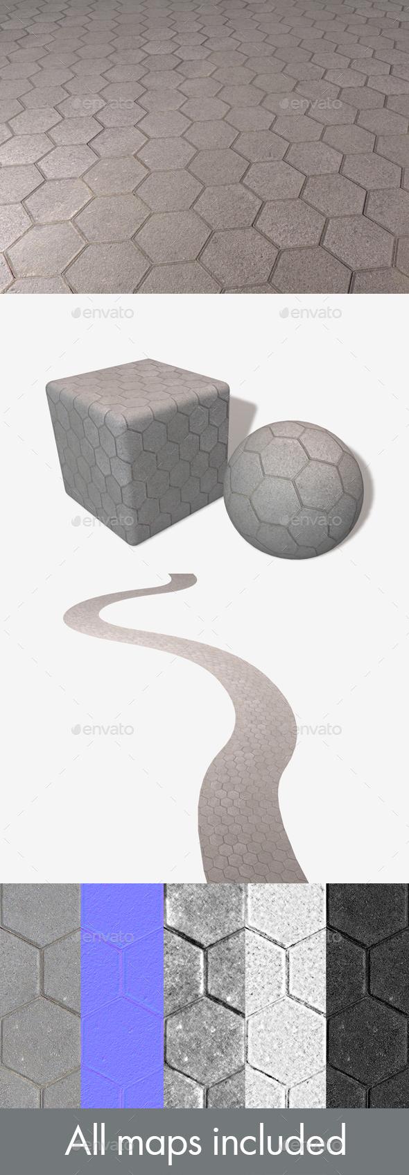 3DOcean Hexagon Paving Slabs Seamless Texture 20007760