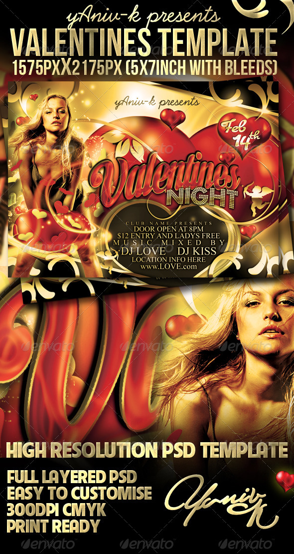 Valentines Night Flyer Template - Clubs & Parties Events