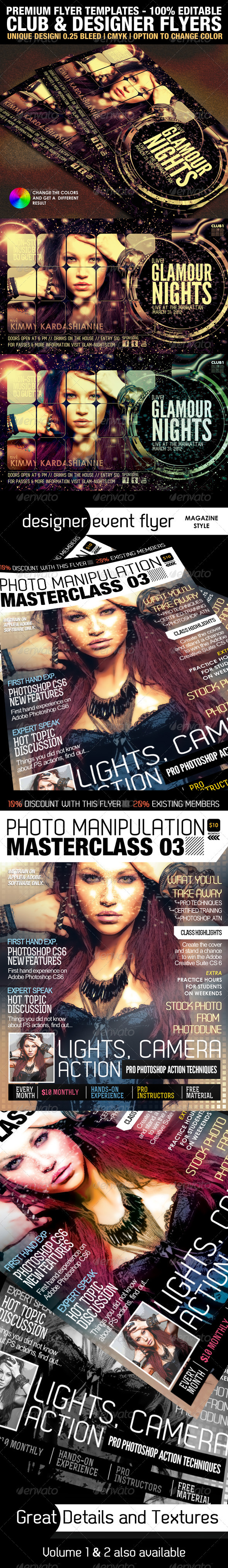 Club & Design Magazine Style Flyer Templates Vol.3 - Clubs & Parties Events