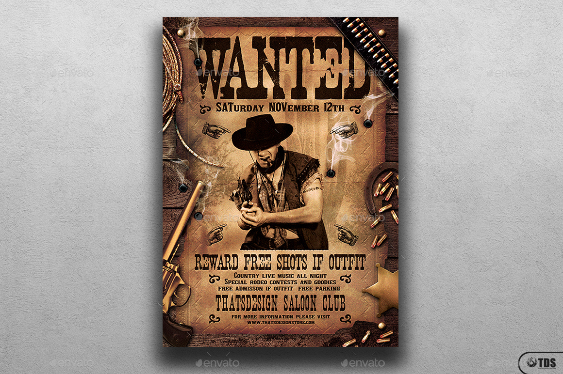 Wanted Western Party Flyer Template by lou606 – Western Poster Template