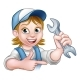 Mechanic or Plumber Woman Cartoon Character