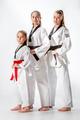 The studio shot of group of women posing as karate martial arts sportsmen