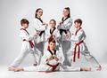 The studio shot of group of kids training karate martial arts
