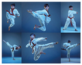 The studio shot of kids training karate martial arts