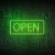 Green Neon Sign Open