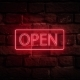 Red Neon Sign Open