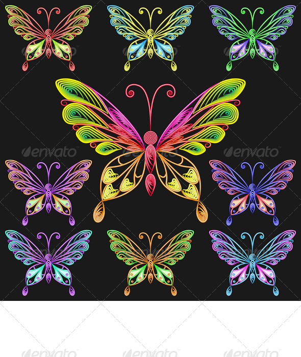 vector set colorful butterflies - Decorative Symbols Decorative