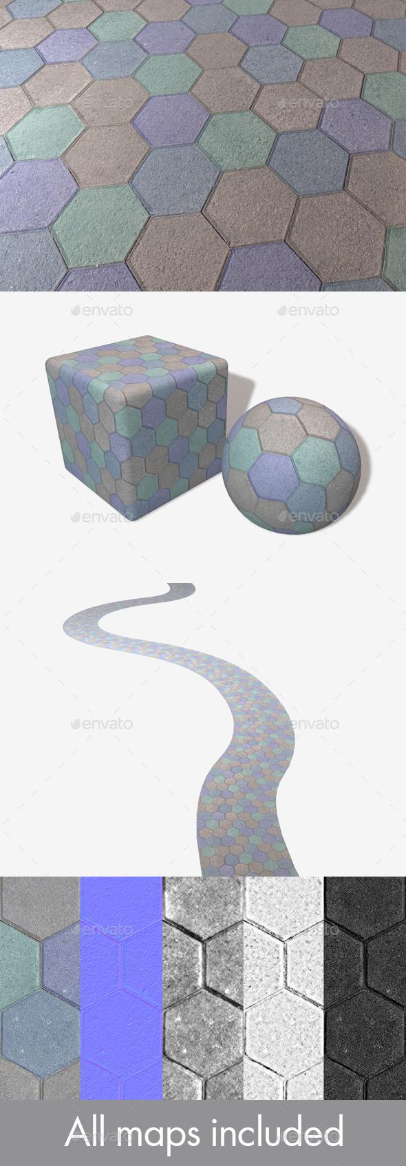 3DOcean Blue Hexagon Paving Slabs Texture 20014301