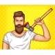Pop Art Brutal Bearded Man