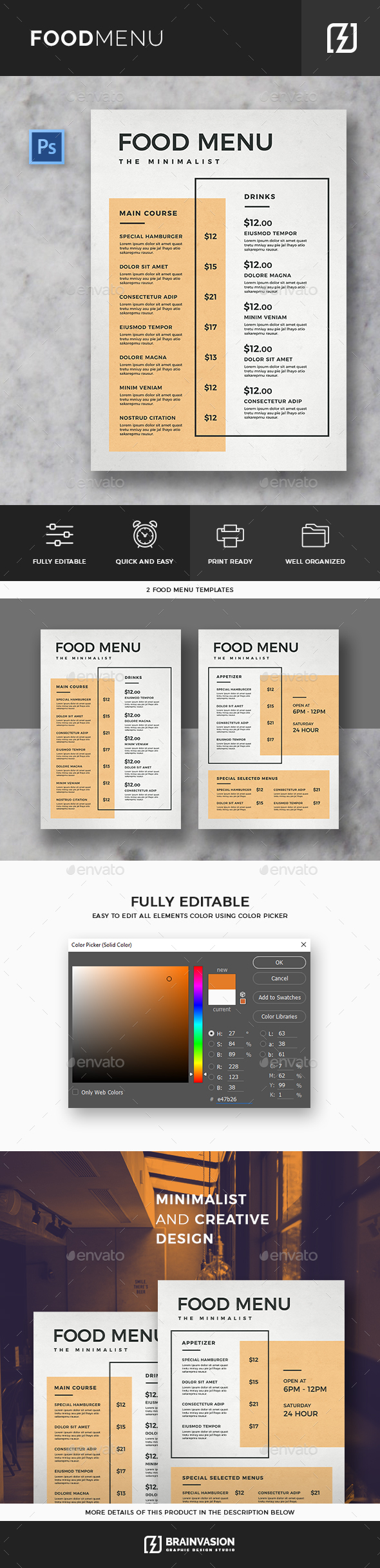 Minimal Food Menu Template