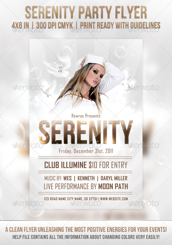 Graphic River Serenity Party Flyer Print Templates -  Flyers  Events  Clubs & Parties 1044013