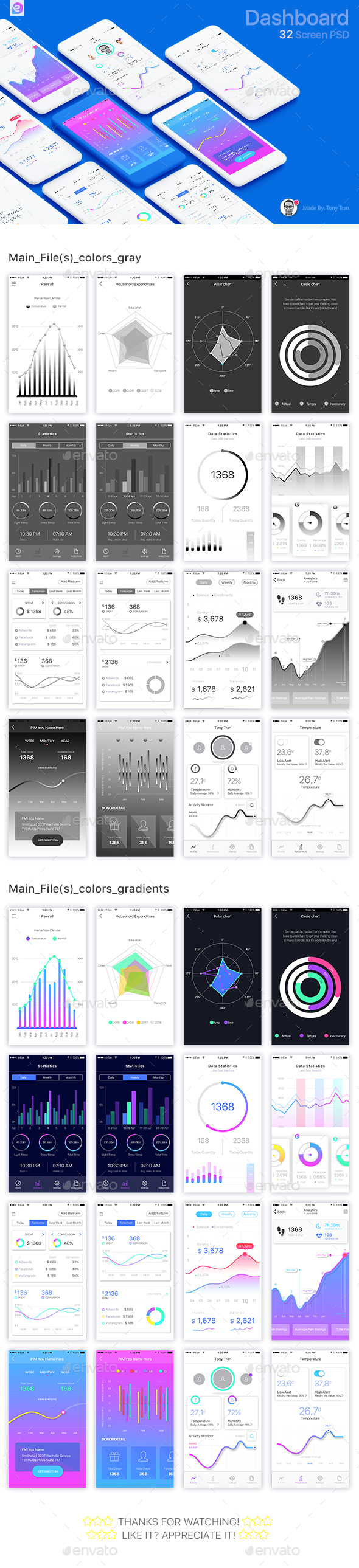 Coloristic: iOS/Android UI Kit (60 App Screens) (User Interfaces)
