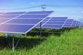 Solar panels on green grass