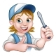 Electrician Woman Holding Screwdriver