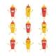 Ketchup and Mustard- Vector Set of Mascot