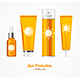 Sun Protection Cosmetic Cream Template Set. Vector