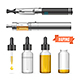 Realistic Vaping Vaporizer Liquid Set. Vector