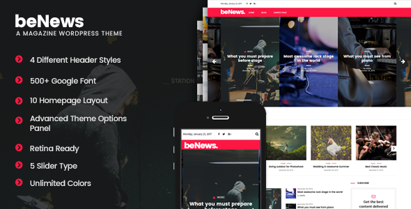 Download beNews - Magazine WordPress Theme