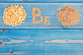 Ingredients containing vitamin B6 and dietary fiber, healthy nutrition