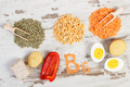 Products containing vitamin B6 and dietary fiber, concept of healthy nutrition
