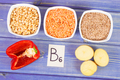 Ingredients containing vitamin B6 and dietary fiber, concept of healthy nutrition