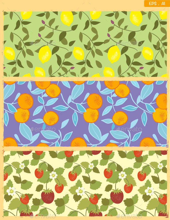 Seamless Fruits pattern in Vintage style