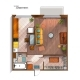 Vector Modern Studio Apartment Top View