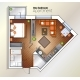 Vector Modern One Bedroom Apartment Top View