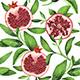 Watercolor Pomegranate Pattern