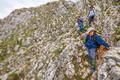 Mother and kids on mountain trek
