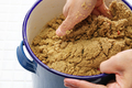 maintenance of nukadoko(salted rice bran bed for pickles), japanese traditional food cooking