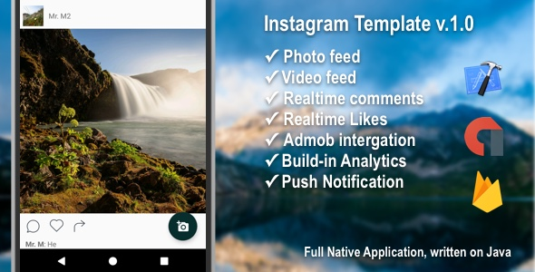 Instagram Template with Firebase + Admob + PushNotifications