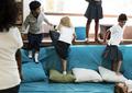 Group of diverse students at playroom