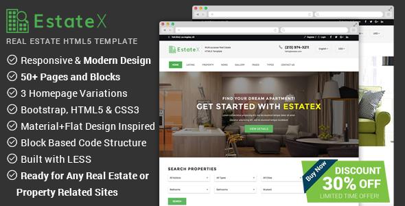 Actual Estate Web-site Template – EstateX (Organization)