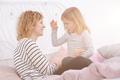 Little girl telling a story