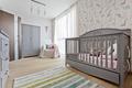 Nursery with wooden grey cradle