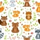 Vector Seamless Pattern of Forest Animals