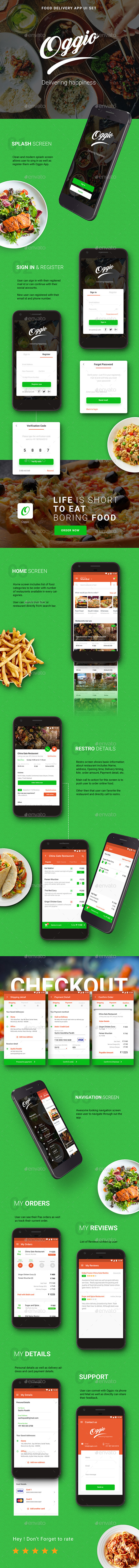 Food Delivery App |  Oggio  | App UI Set (User Interfaces)