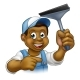 Black Window Cleaner With Squeegee