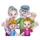 Cartoon Grandparents and Children